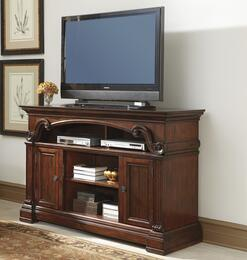 "Alymere W6696801 60"" Wide LG TV Stand and Wood Burning Flame Effect Fireplace Insert in Rustic Brown Finish"