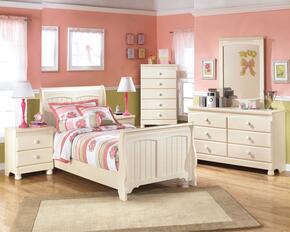 Cottage Retreat Twin Bedroom Set with Sleigh Bed, Dresser, Mirror and Nightstand in Cream