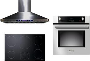 "3-Piece Stainless Steel Kitchen Package with VECTI365 36"" Induction Smoothtop, VEBIEM3030SS 30"" Electric Single Wall Oven, and VEHOOD36CH 36"" Wall Mount Ducted Hood"