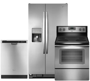 "3-Piece Stainless Steel Kitchen Package with WRS325FDAM 36"" Side-by-Side Refrigerator, WFE515S0ES 30"" Freestanding Electric Range and WDF520PADM 24"" Full Console Dishwasher"