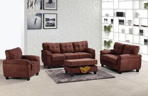 G902ASET 4 PC Living Room Set with Sofa + Loveseat + Armchair + Ottoman in Chocolate Color