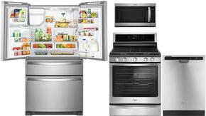 """4 Piece kitchen Package with WFG745H0FS  30"""" Gas Freestanding Range, WMH32519FS Over the Range Microwave Oven, WDT780SAEM 24"""" Built In Full Console Dishwasher and WRX735SDBM  36"""" French Door Refrigerator in Stainless Steel"""