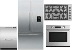 "4 Piece Stainless Steel Kitchen Package With RF201ADUSX5 36"" French Door Refrigerator, OB30STEPX3 30"" Electric Wall Oven, DD24DCTX9 24"" Drawers Dishwasher and CI365DTB1 36"" Electric Cooktop For Free"