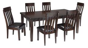 Natashia Collection 7-Piece Dining Room Set with Extendable Table and 6 Side Chairs in Dark Brown Finish
