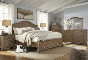 Trishley California King Bedroom Set with Panel Bed, Dresser, Mirror, Nightstand and Chest in Light Brown