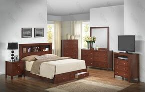 G2400DQSB2SET 6 PC Bedroom Set with Queen Size Storage Bed + Dresser + Mirror + Chest + Nightstand + Media Chest in Cherry Finish