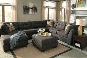 Gillian Collection MI-2144SECOT2-STEE 2-Piece Living Room Set with Left Chaise Sectional Sofa and Ottoman in Steel Color