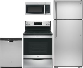 "4 Piece kitchen Package with JB645RKSS  30"" Electric Freestanding Range, JVM3160RFSS  Over the Range Microwave Oven, GDF610PSJSS  24"" Built In Full Console Dishwasher and GAS18PSJSS 28"" Freestanding Top Freezer Refrigerator"