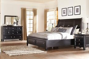 Greensburg King Bedroom Set with Storage Bed, Dresser, Mirror and Nightstand in Black