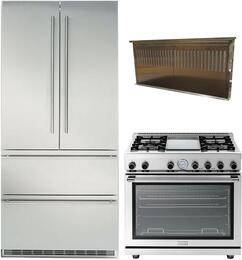 "3 Piece Kitchen Package With CS2062 36"" french Door Refrigerator, RN362GPSS 36"" Gas Freestanding Range and SCIR3614SS 36"" Range Hood in Stainless Steel"