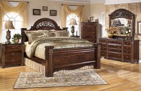 Gabriela Queen Bedrrom Set with Poster Bed, Dresser, Mirror and Nightstand in Dark Reddish Brown