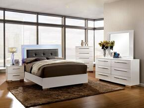 Clementine Collection CM7201KBDMCN 5-Piece Bedroom Set with King Bed, Dresser, Mirror, Chest and Nightstand in White Finish