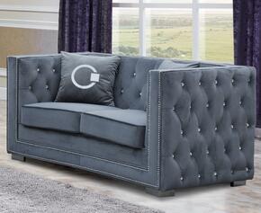 Cosmos Furniture ZIONLOVESEATGREYVELVET