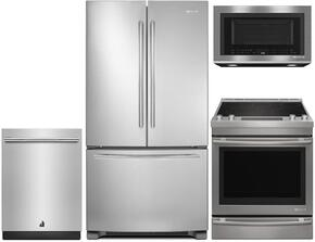 "4-Piece Kitchen Package With JFC2089BEM 36"" Counter Depth French Door  Refrigerator, JES1450DS 30"" Slide-in Electric Range, JMV8208CS 30"" Over the Range Microwave Oven and JDB9000CWS 24"" Fully Integrated Dishwasher in Stainless Steel"