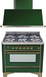 "2-Piece Emerald Green Kitchen Package with UM906DVGGVSY 36"" Freestanding Gas Range (Oiled Bronze Trim, 6 Burners, Timer) and UAM90VS 36"" Wall Mount Range Hood"