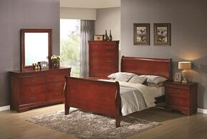 Louis Philippe 200431FDMNC 5-Piece Bedroom Set with Full Sleigh Bed, Dresser, Mirror, Nightstand and Chest in Cherry Finish