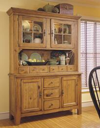 Attic Heirlooms 5397-65SV-66S China Cabinet with Hutch and Base in Natural Oak Stain Finish
