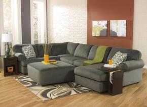 Jessa Place 39803-08-17-34-66 2-Piece Living Room Set with Sectional Sofa and Oversized Accent Ottoman in Pewter