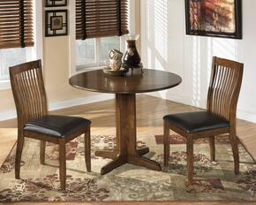 Silvana Collection 3-Piece Dining Room Set with Round Dining Table and 2 Side Chairs in Medium Brown