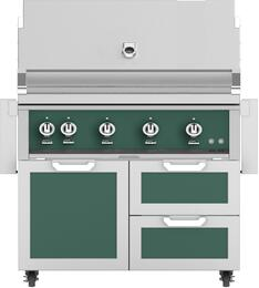 "42"" Freestanding Natural Gas Grill with GCR42RD Tower Grill Cart with Double Drawer and Door Combo, in Grove Green"