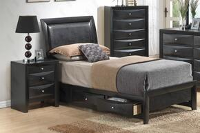G1500DDTSB2CHN 3 Piece Set including  Twin Size Bed, Chest and Nightstand in Black