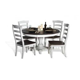 Bourbon Country Collection 1014FCDT4C 5-Piece Dining Room Set with Round Dining Table and 4 Chairs in French Country Finish