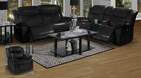 2032430MBKSLR Soho 3 Piece Manual Recline Living Room Set with Sofa, Loveseat and Glider Recliner, in Black