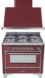"2-Piece Burgundy Kitchen Package with UM906DVGGRBX 36"" Freestanding Gas Range (Chrome Trim, 6 Burners, Timer) and UAM90RB 36"" Wall Mount Range Hood"