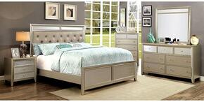 Briella Collection CM7101QBDMCN 5-Piece Bedroom Set with Queen Bed, Dresser, Mirror, Chest and Nightstand in Silver Finish