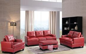 G589ASET 3 PC Living Room Set with Sofa + Loveseat + Armchair in Red Color