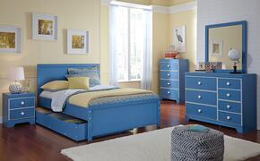 Bronilly Full Bedroom Set with Panel Storage Bed, Dresser, Mirror, Night Stand and Chest in Blue