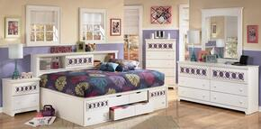 Mendoza Collection Twin Bedroom Set with Bedside Storage Bed, Dresser, Mirror and Nightstand in White