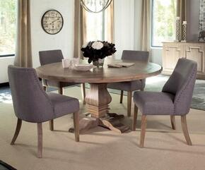 Florence Collection 180200GSC 5 PC Dining Room Set with Dining Table + 4 Grey Side Chairs in Rustic Smoke Finish