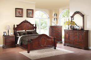 Estrella 21724CK5PC Bedroom Set with California King Size Bed + Dresser + Mirror + Chest + Nightstand in Dark Cherry Finish