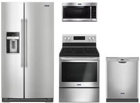 "4-Piece Kitchen Package with MSS26C6MFZ 36"" Freestanding Side by Side Refrigerator, MER6600FS 30"" Electric Freestanding Range, MMV1174FZ 30"" Over The Range Microwave oven and MDB4949SDM 24"" Built in Dishwasher in Stainless Steel"
