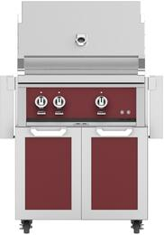 """30"""" Liquid Propane Grill with GCD30BG Tower Grill Cart with Two Doors, in Tin Roof Burgundy"""