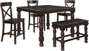 Gerlane Collection 5-Piece Dining Room Set with Rectangular Counter Table, 3 Barstools and Counter Height Bench in Dark Brown