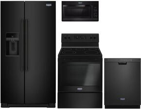 "4-Piece Kitchen Package with MSS26C6MFB 36"" Side by Side Refrigerator, MGR6600FB 30"" Electric Freestanding Range, MMV1174FB 30"" Over The Range Microwave oven and MDB4949SDE 24"" Built in Dishwasher in Black"