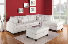 511752PC Kiva 2 PC Living Room Set with Sectional Sofa and Ottoman in White Color