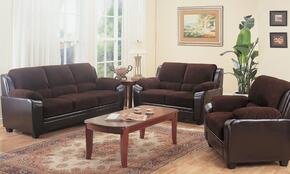 502811SET3 Monika Stationary Chocolate Fabric 3 Pieces Living Room Set (Sofa, Loveseat, and Chair)