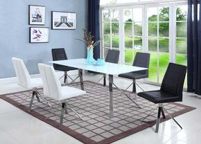 Dana Collection DANA-7PC 7 PC Dining Room Set with Dining Table + 6 Side Chairs (2 Black, 2 White, 2 Grey)