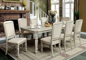 Holcroft Collection CM3600T8SC 9-Piece Dining Room Set with Rectangular Table and 8 Side Chairs in Antique White