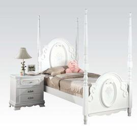 01660TN Flora Twin Size Poster Bed + Nightstand in White Finish
