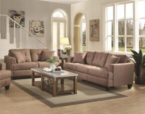 Samuel Sofa Collection 5051712PC 2-Piece Living Room Set with Sofa and Love Seat in Light Mocha Fabric Upholstery