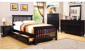 Caspian Collection CM7920BKTBDMCN 5-Piece Bedroom Set with Twin Bed, Dresser, Mirror, Chest, and Nightstand in  Black