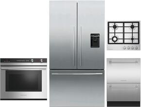 "4 Piece Stainless Steel Kitchen Package With RF201ADUSX5 36"" French Door Refrigerator, OB30DDEPX3 30"" Electric Double Wall Oven, DD24DCTX9 24"" Drawers Dishwasher and CI365DTB1 36"" Gas Cooktop For Free"