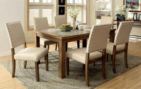 Melston I Collection CM3531T6SC 7-Piece Dining Room Set with Rectangular Table and 6 Side Chairs in Natural Tone Finish
