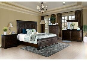 Minerva Collection CM783KBDMCN 5-Piece Bedroom Set with King Bed, Dresser, Mirror, Chest and Nightstand in Walnut Finish