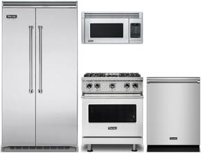 "4-Piece Stainless Steel Kitchen Package with VCSB5423SS 42"" Side by Side Refrigerator, VGR5304BSS 30"" Gas Range, VMOR205SS 30"" Over the Range Microwave, and VDW302SS 24"" Fully Integrated Dishwasher"