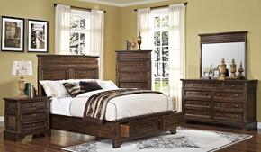 00186QBDMNC Grandview 5 Piece Bedroom Set with Storage Queen Bed, Mirror, Nightstand and Media Chest, in Brown